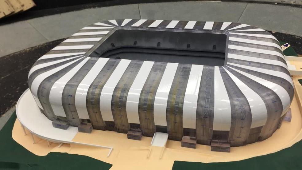 Maquete estrutural do estádio do Atlético-MG foi submetida a um teste de impacto de vento — Foto: Reprodução/Internet