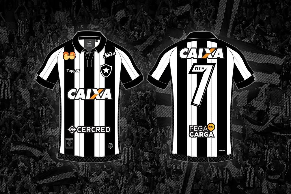 f998007a88 Camisa do Botafogo e seus patrocínios fixos em 2018 — Foto  Divulgação