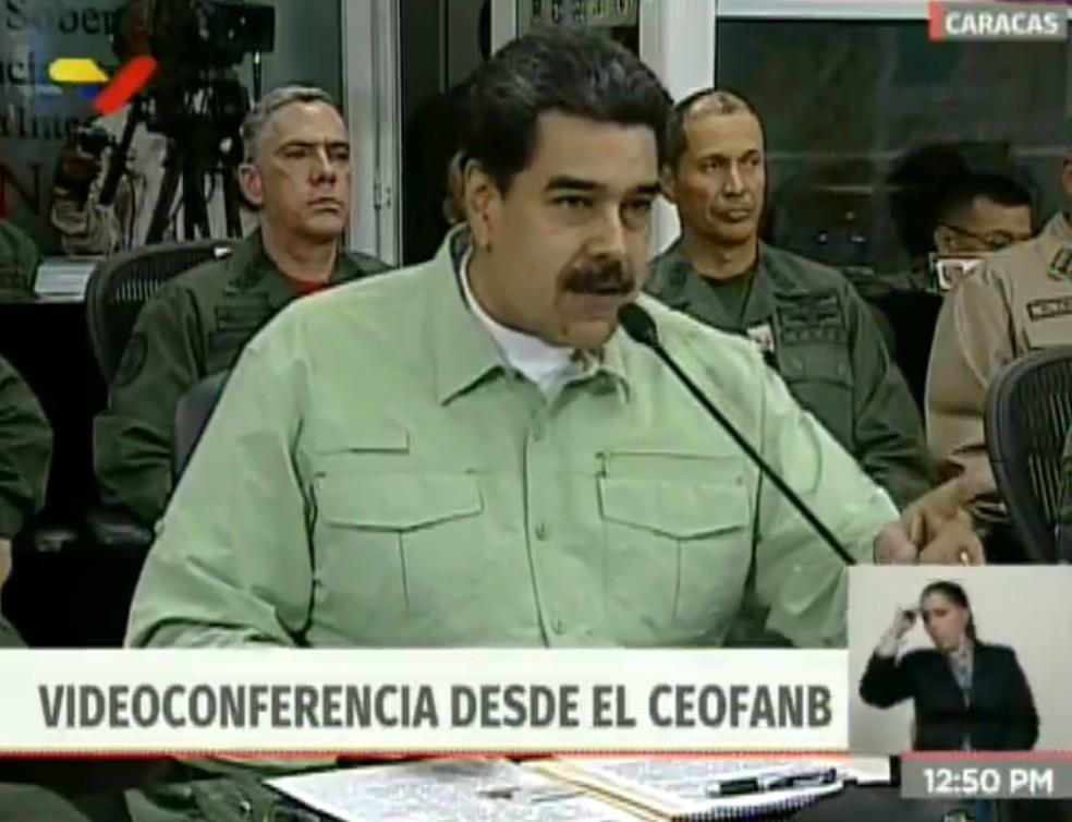 Nicolás Maduro anunciou em uma videoconferência transmitida pela TV que iria fechar a fronteira terrestre entre Brasil e Venezuela — Foto: Reprodução/VTV