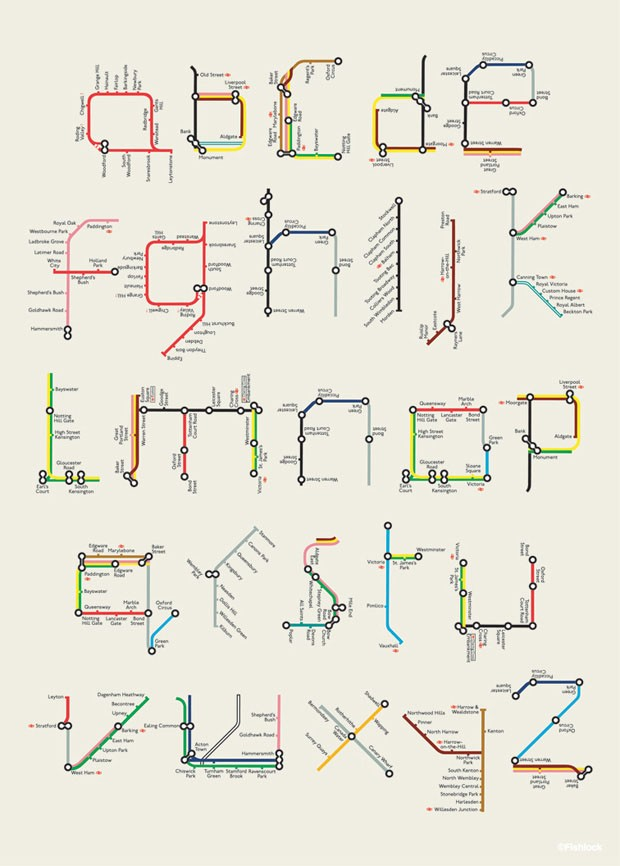 Alfabeto tipográfico A to Z London underground, de Tim Fishlock