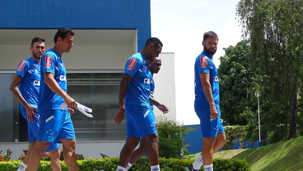 Fred se reapresentou com os demais jogadores do Cruzeiro nesta quarta (Foto: Gabriel Duarte)