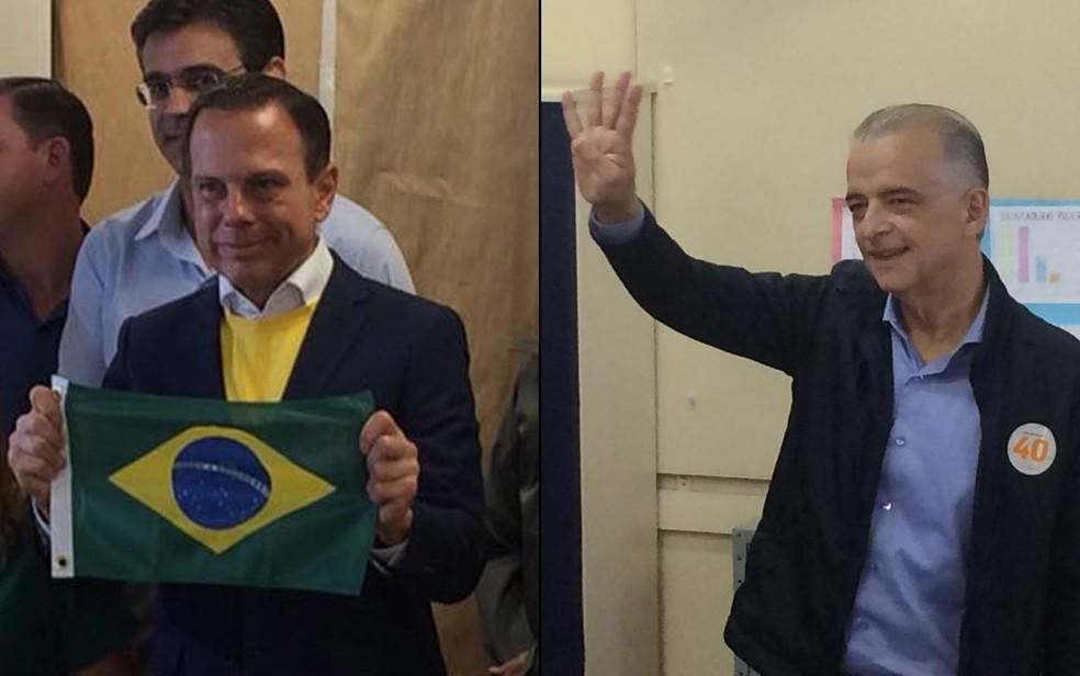 Candidatos ao governo de São Paulo, João Doria e Márcio França votam — Foto: Tahiane Stochero e Tatiana Santiago/G1