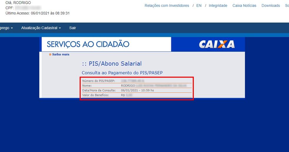 Site da Caixa mostra o saldo do PIS — Foto: Reprodução/Rodrigo Fernandes