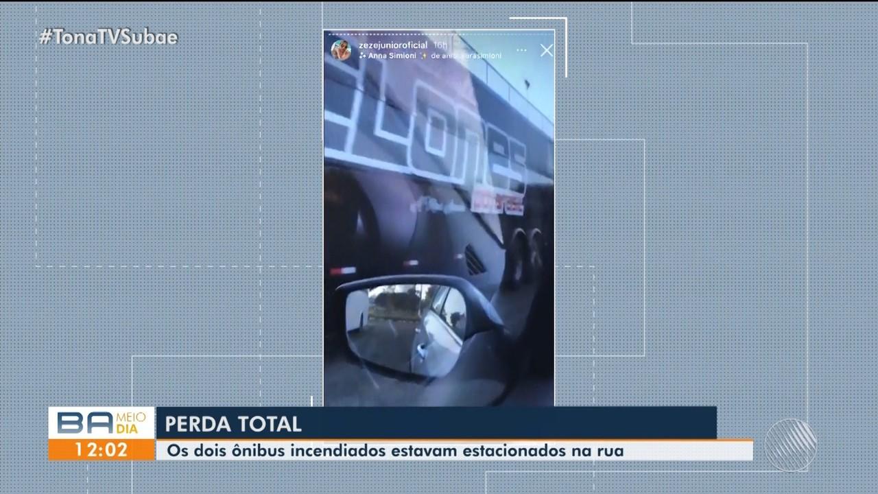 Dois ônibus particulares são incendiados em Feira de Santana; proprietários lamentam