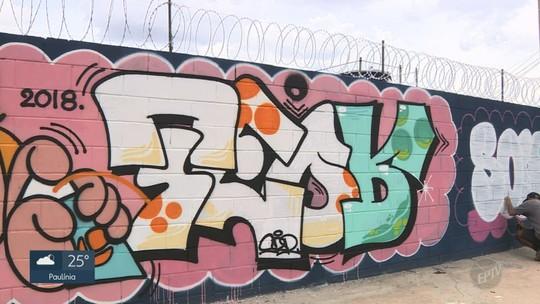 Grupo de grafiteiros transforma muro na Vila Industrial em 'ponto turístico', em Campinas