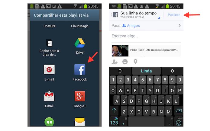 Compartilhando uma YouTube Mixe no Facebook através de um dispositivo Android (Foto: Reprodução/Marvin Costa)