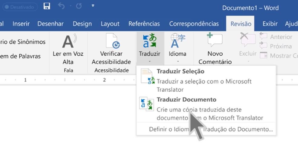 Office 2019 conta com tradutor integrado — Foto: Divulgação/Microsoft
