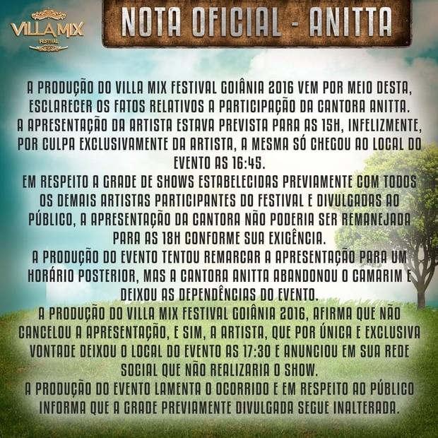 Villa Mix solta comunicado oficial após desentendimento com Anitta (Foto: Reprodução/Instagram)