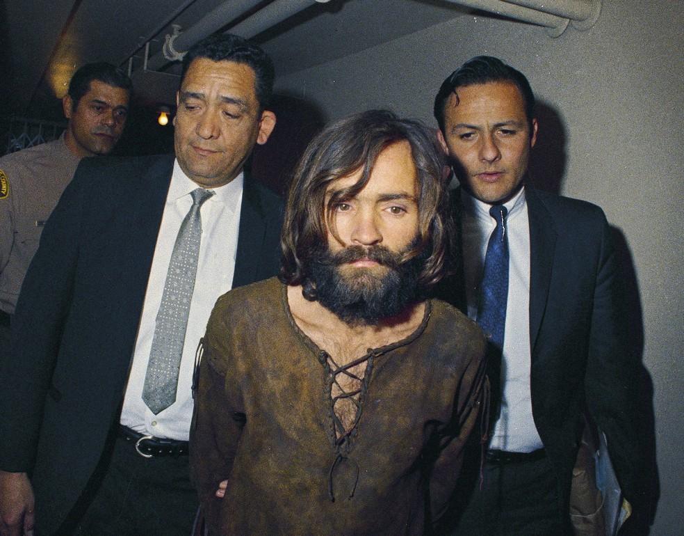 Foto mostra prisão de Charles Manson em 1969 (Foto: Arquivo/AP)