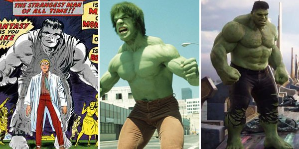 Hulk nos quadrinhos (1962), na televisão (1988) e cinema (2017) (Foto: Divulgação)