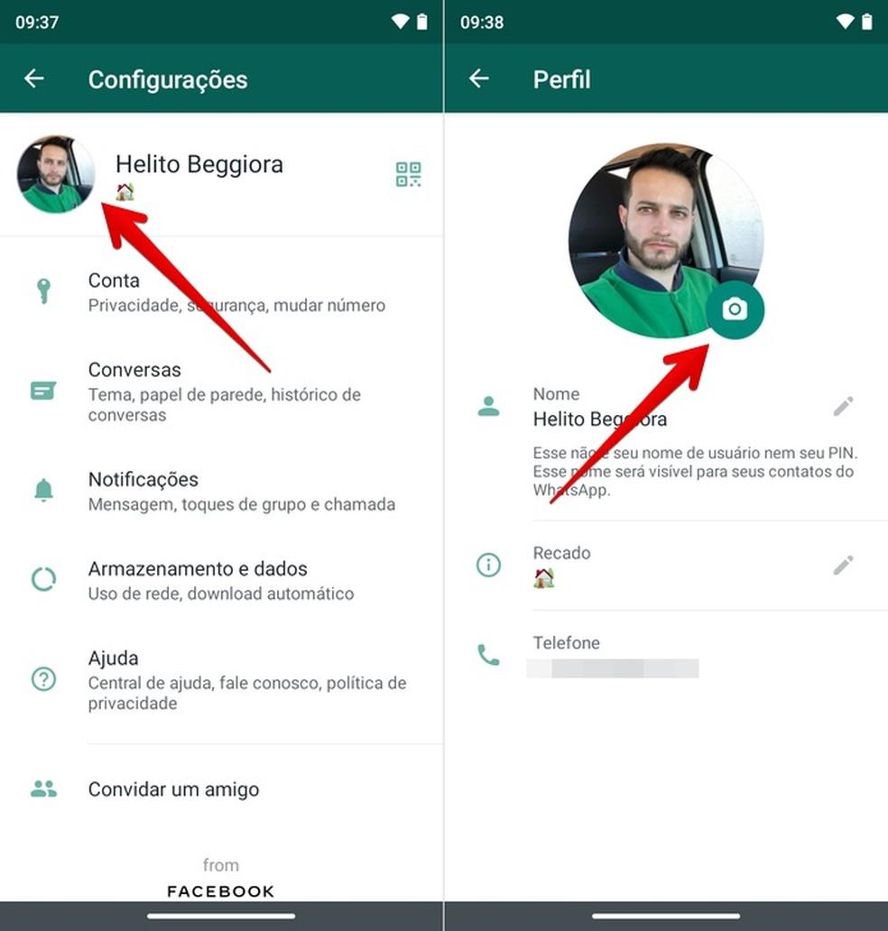 Vá até a aba de Configurações para mudar a foto do WhatsApp — Foto: Reprodução/Helito Beggiora