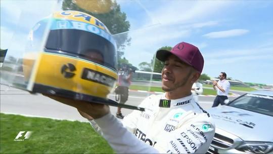 Família Senna mostra relíquias e conta bastidores de presente a Hamilton