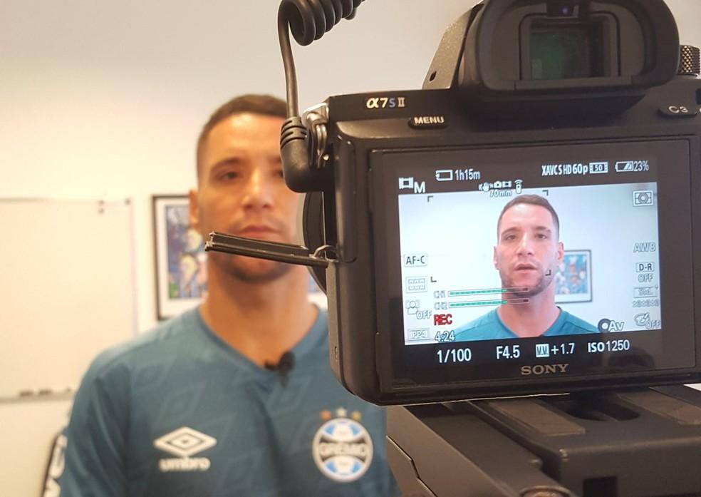 Thiago Neves em entrevista à Grêmio TV — Foto: Grêmio TV