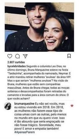 Resposta de Bruna Marquezine (Foto: Reprodução/Instagram)