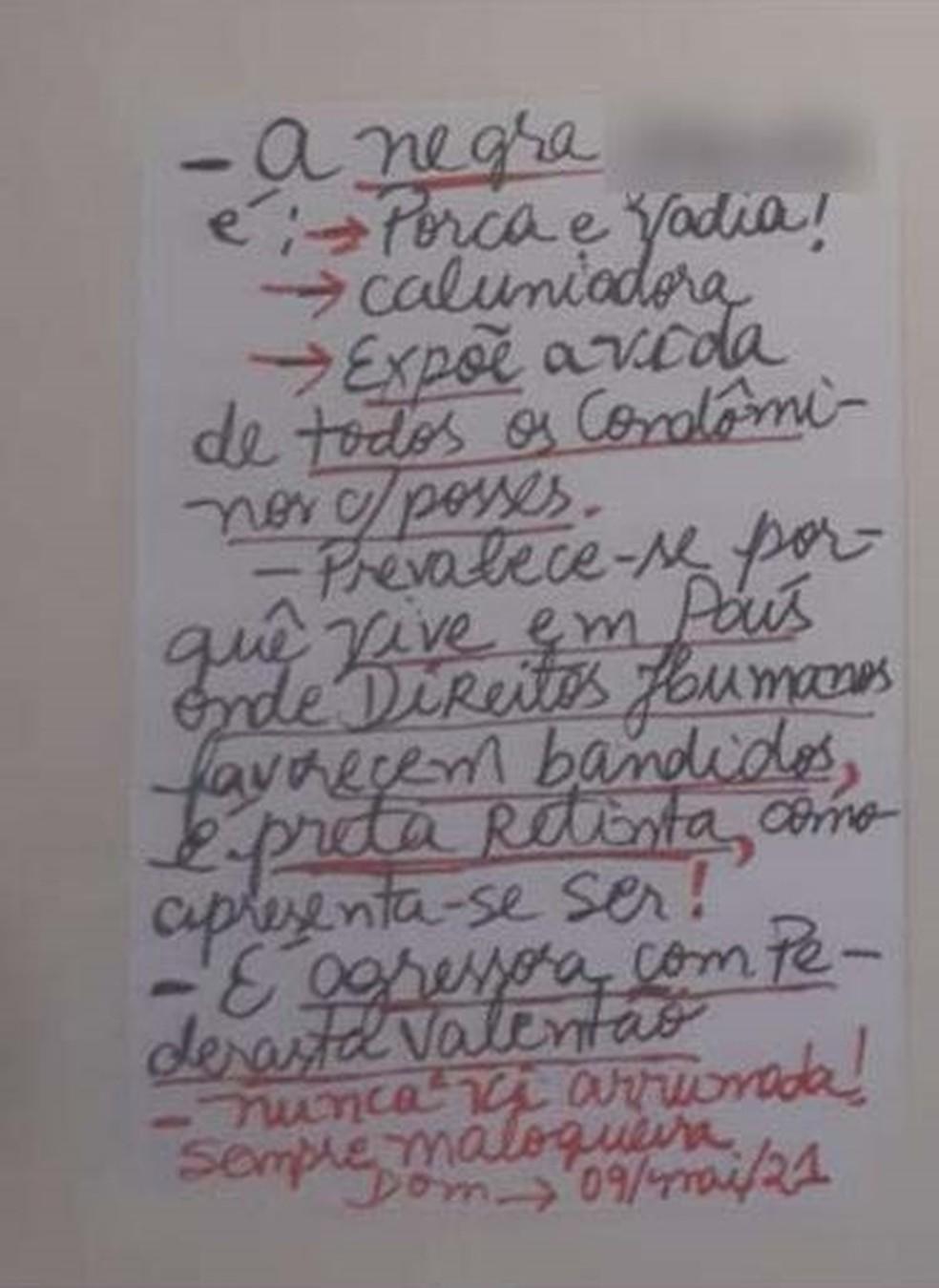 Nutricionista colou nova ofensa racista contra vizinha em Santos, SP — Foto: Arquivo pessoal