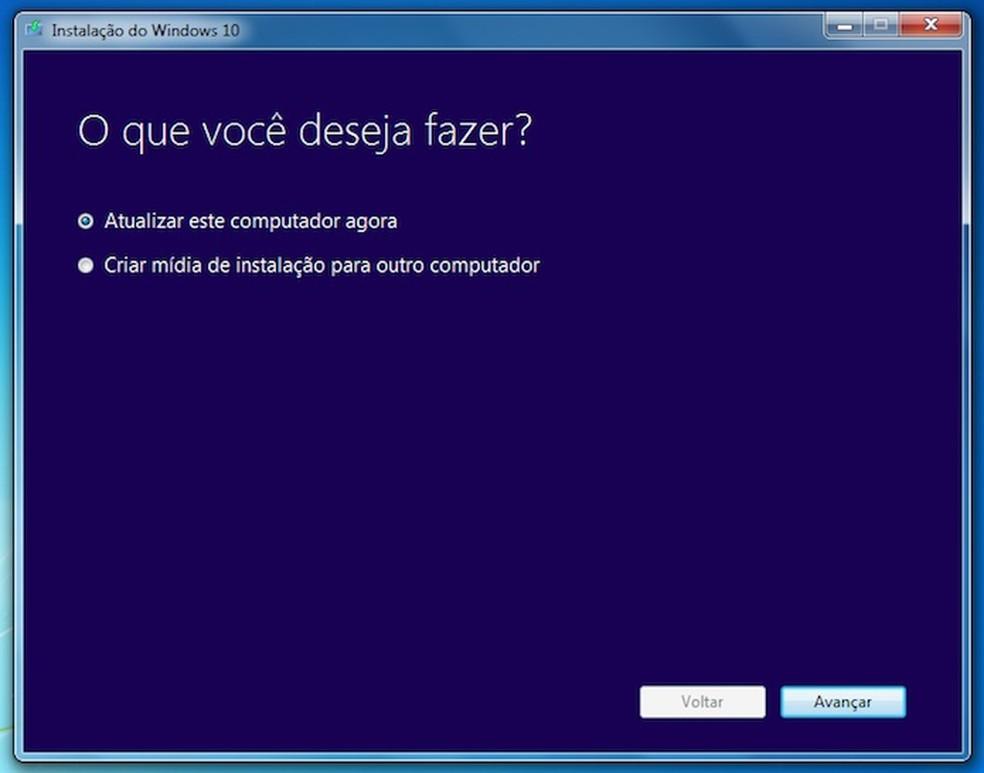 Atualização do Windows 10 com a ferramenta da Microsoft Media Creation tool (Foto: Reprodução/Helito Bijora)
