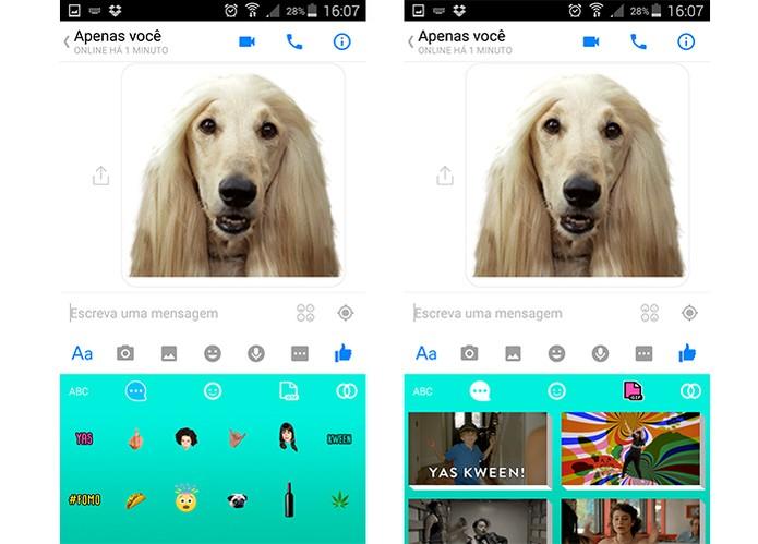 App oferece emojis engraçados e teclado colorido (Foto: Reprodução/Barbara Mannara)