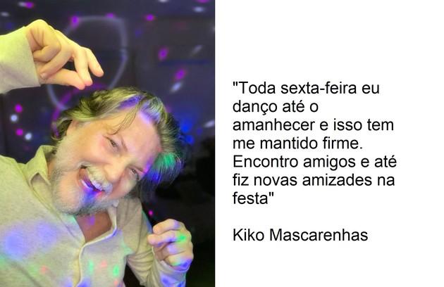 """Kiko Mascarenhas frequenta semanalmente um evento virtual chamado """"Festa dos 3"""" (Foto: Arquivo pessoal)"""