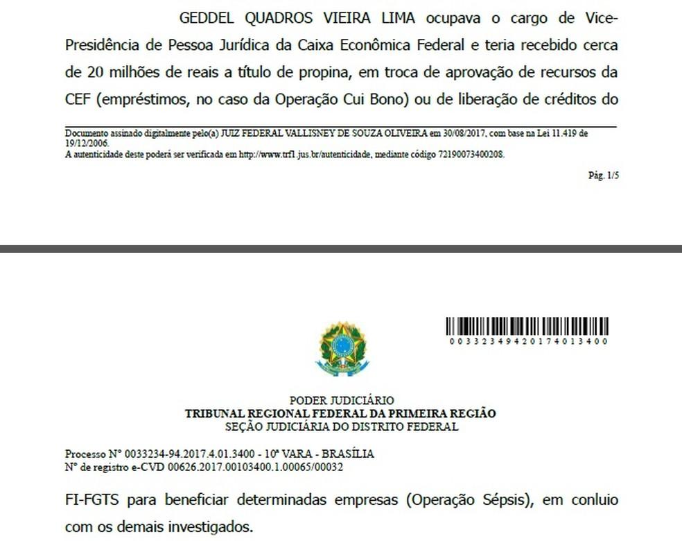 Trecho da decisão que autorizou a PF a fazer busca e apreensão em endereço atribuído a Geddel Vieira Lima (Foto: Reprodução)