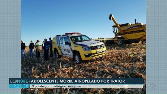 Adolescente morre atropelado pelo pai com trator em colheita, em Serranópolis do Iguaçu