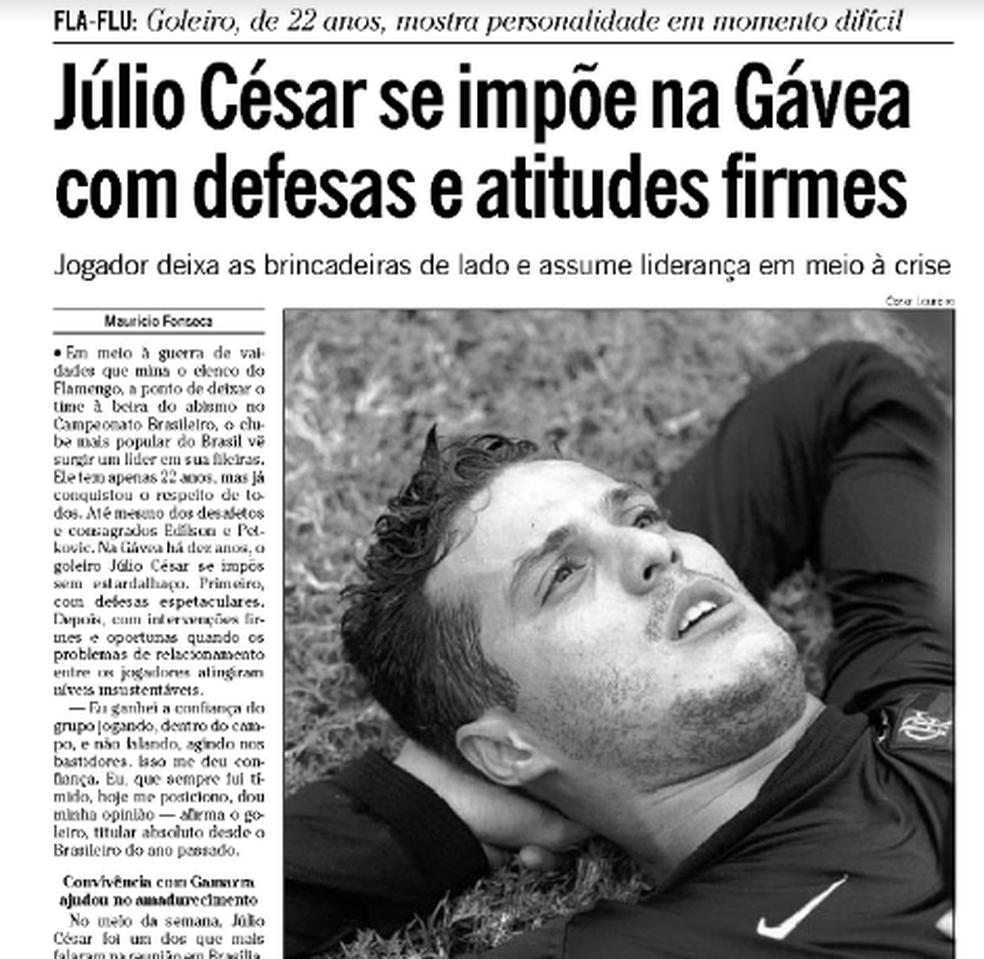 jc-globo2 No ensaio do adeus, a presença de Júlio César é simbólica para goleiro e para o Fla Esportes