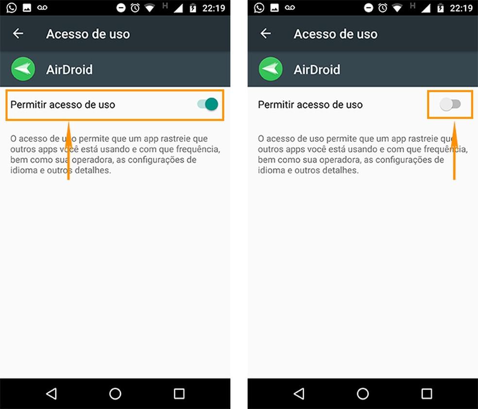 Remova o acesso de uso no aplicativo pelo Android (Foto: Reprodução/Barbara Mannara)