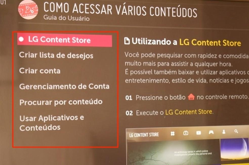 Dicas para usar outros dispositivos conectados em uma smart TV da LG — Foto: Reprodução/Marvin Costa