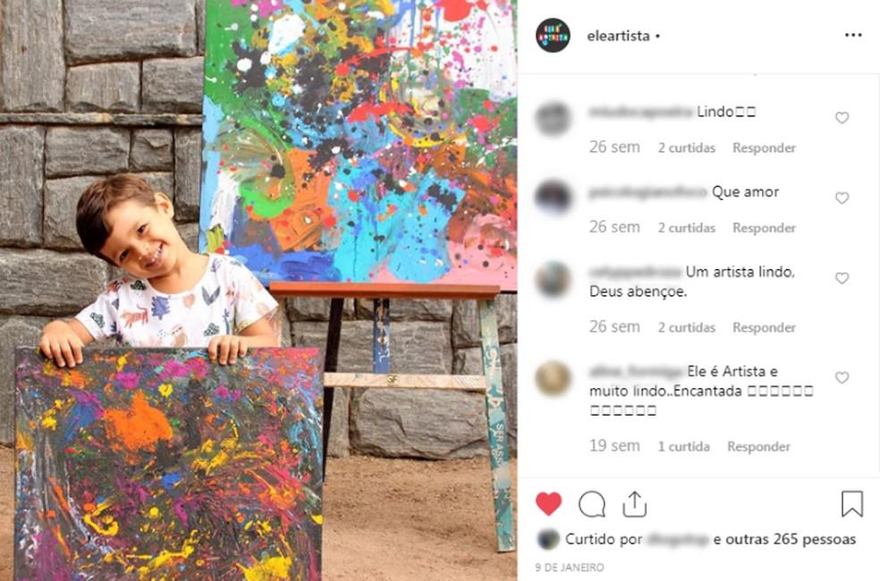 Os pais de Mateus criaram um perfil no Instagram para publicar fotos das produções das telas pelo filho — Foto: Reprodução/Instagram