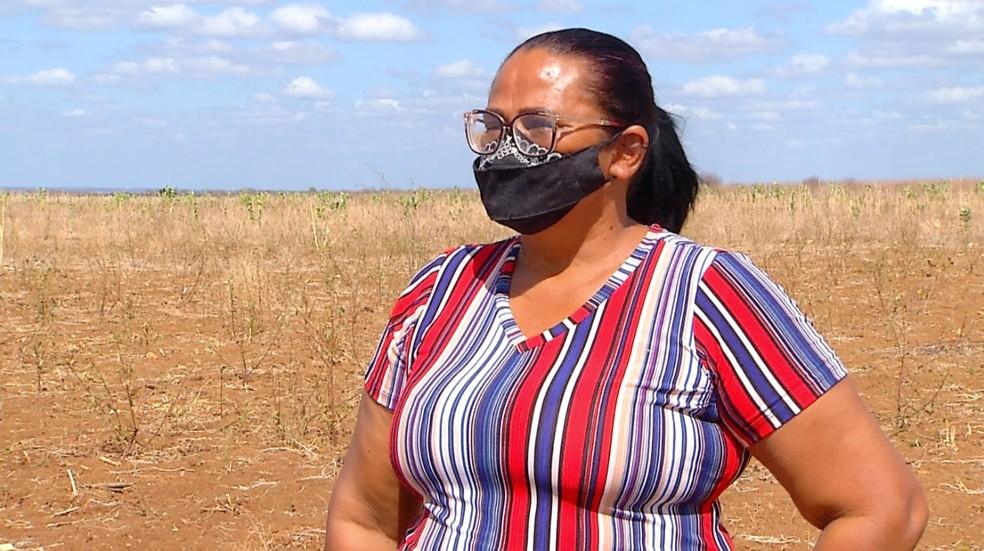 Risolene Vitorino, agricultora e presidente do assentamento Hipólito, na região Oeste potiguar — Foto: Reprodução/Inter TV Costa Branca