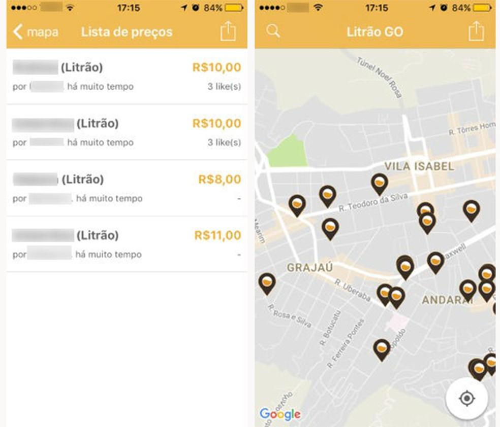 Aplicativo LitrãoGo mostra mapa com locais de venda próximos ao usuário  (Foto: Reprodução/Caroline Brizon)
