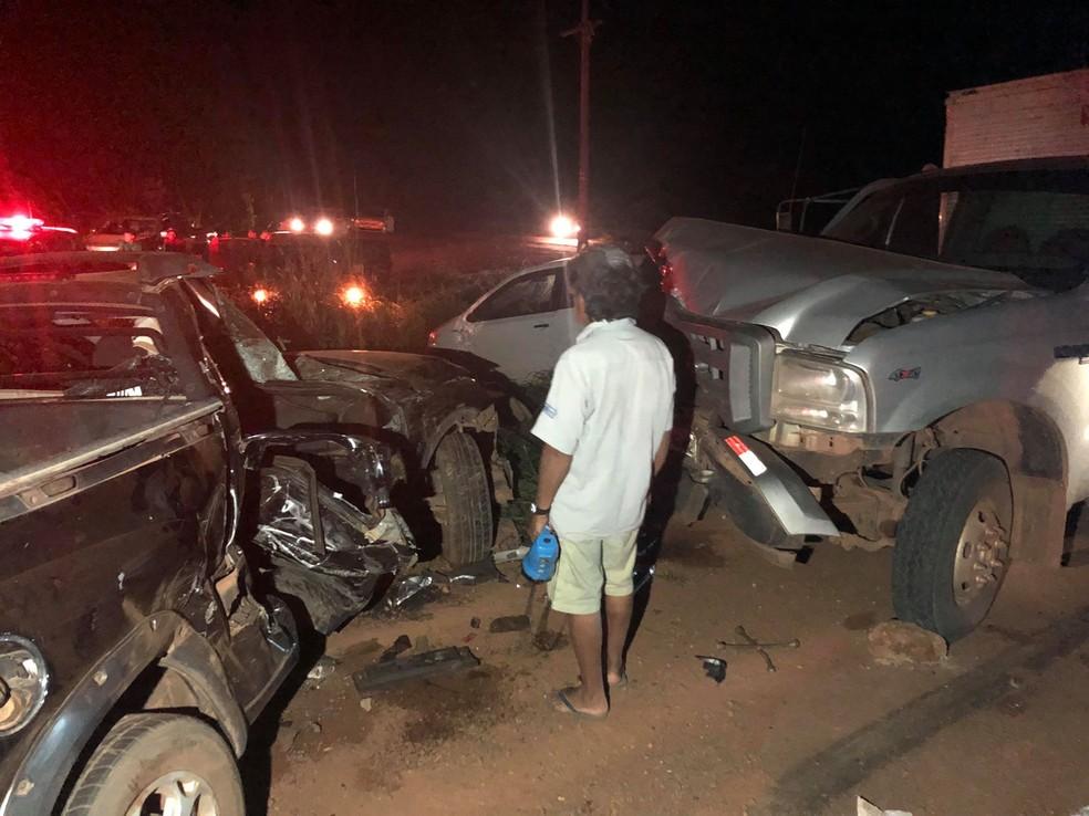 Três indígenas morreram em um acidente na noite dessa quarta-feira (31) na MT-235 em Campo Novo do Parecis — Foto: Portal Campo Novo