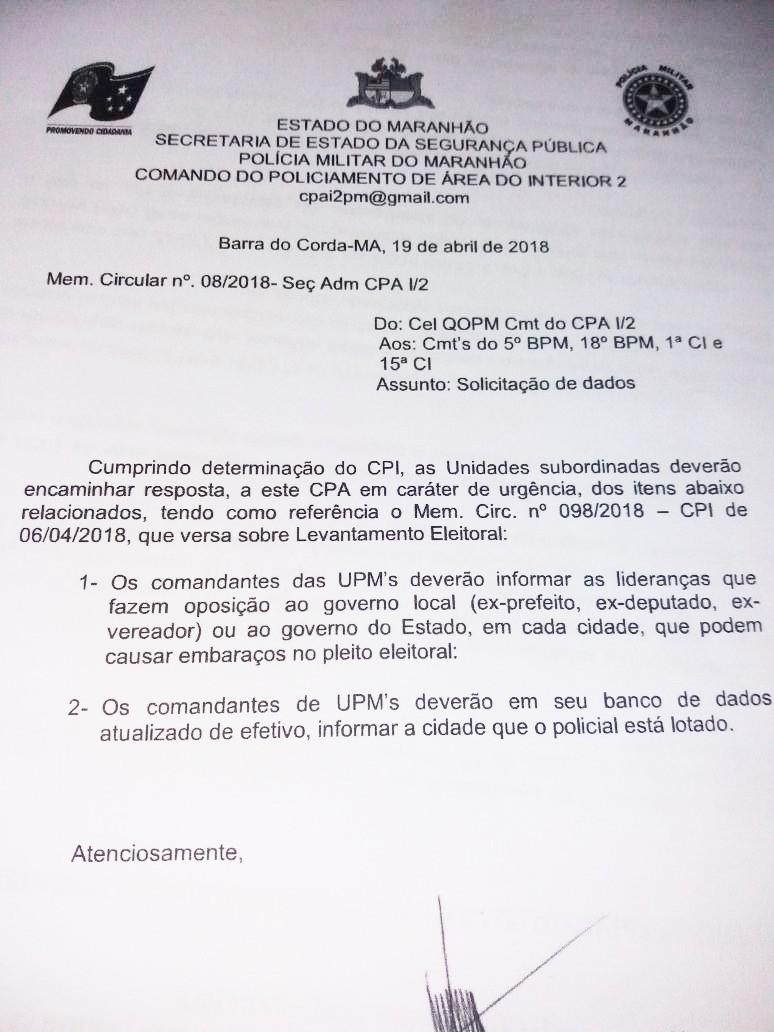 PRE vai apurar documento do governo que ordena monitoramento de políticos no Maranhão
