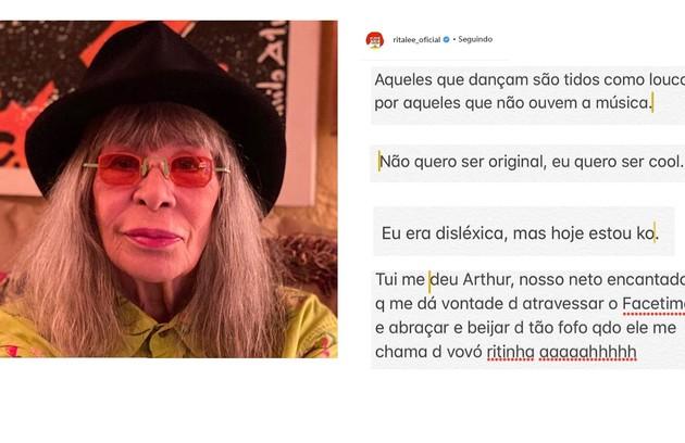 Rita Lee, de 72 anos, compartilha mensagens engraçadas, dá recados contra os maus-tratos a animais e se declara aos filhos e netos na rede (Foto: Reprodução/Instagram)