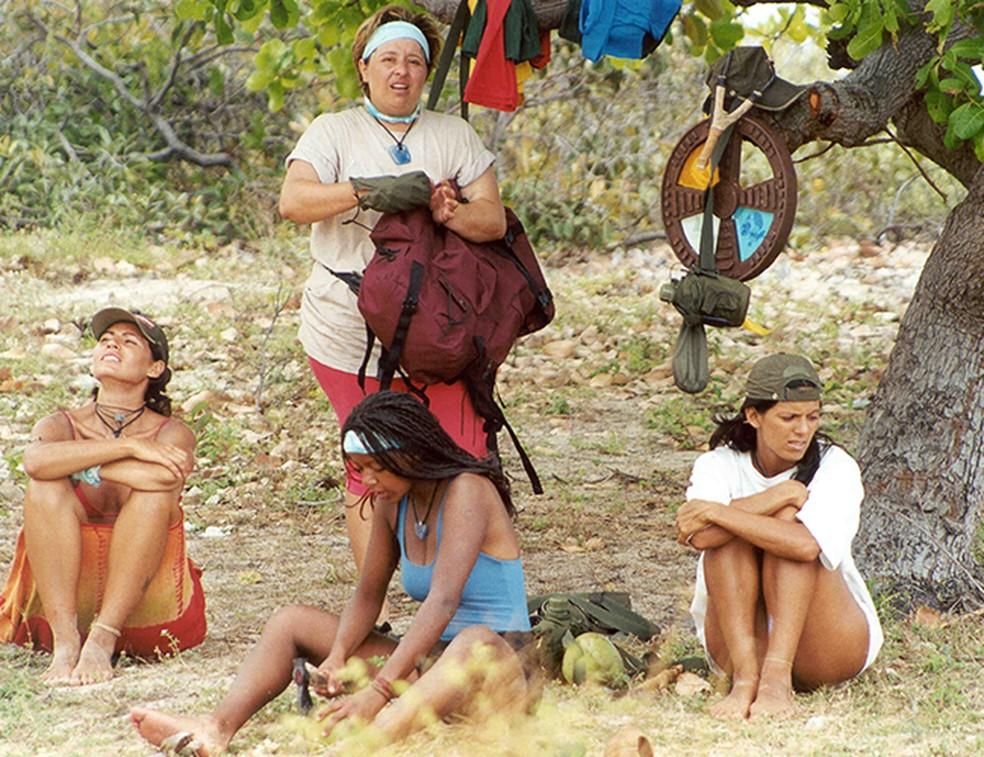 Pipa, Andréia, Juliana e Elaine, semifinalistas do programa 'No Limite', em 2000 — Foto: Roberto Steinberger/Memória Globo