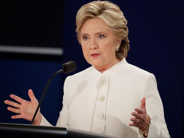 Hillary Clinton durante o terceiro e último debate presidencial na Universidade de Nevada, em Las Vegas, na quarta (19) (Foto: AP Photo/John Locher)