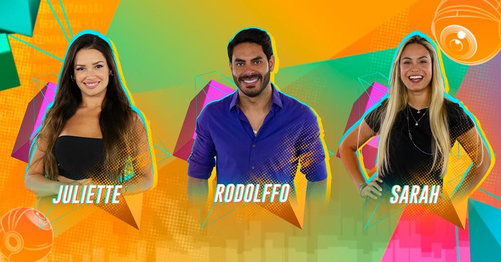 Juliette, Rodolffo e Sarah se enfrentam no Paredão  — Foto: Globo