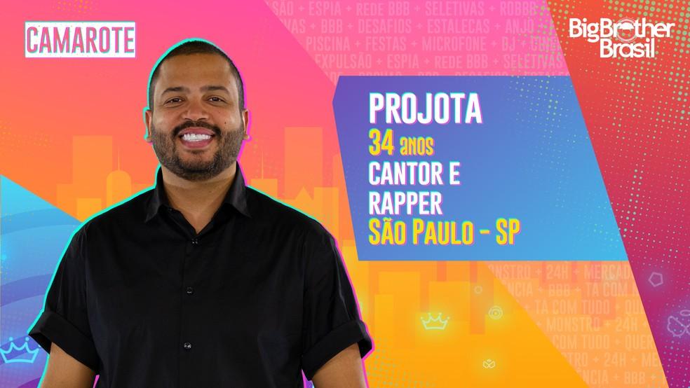 Projota é participante do 'BBB21'  — Foto: Divulgação/Globo