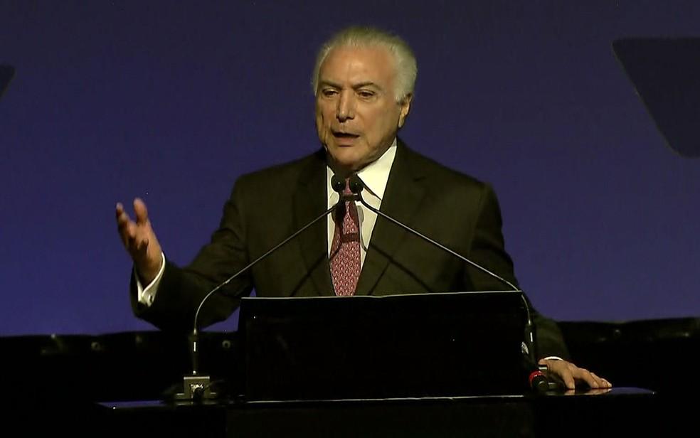 Presidente Michel Temer visita Goiânia (Foto: TV Globo/Reprodução)