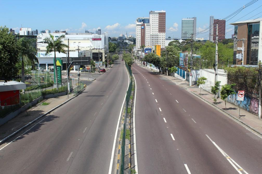 Avenida Djalma Batista, durante jogo entre Brasil x México (Foto: Patrick Marques/G1 AM)