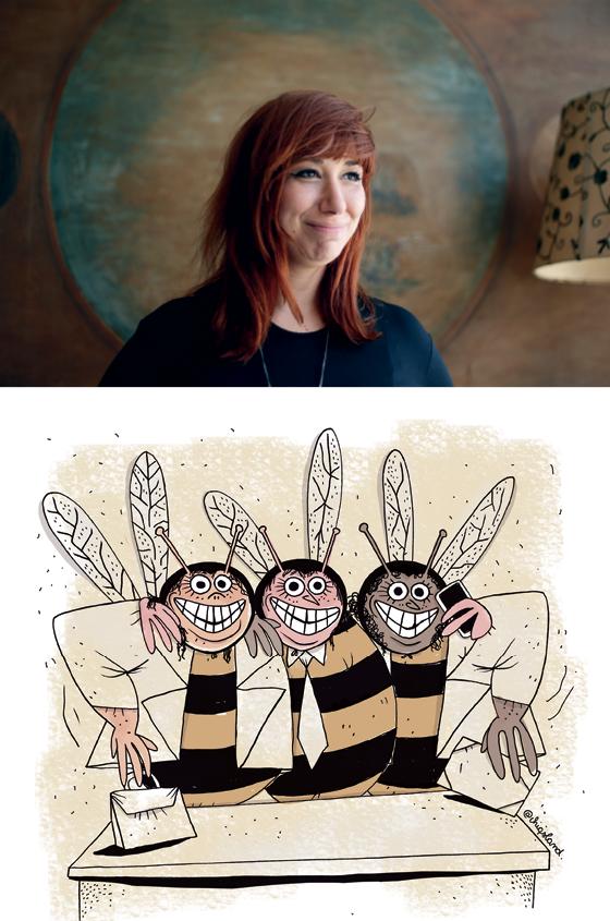 """ATRÁS DO PREJUÍZO A gaúcha Fabiane Langona, a Chiquinha, e seu desenho sobre as abelhas-rainhas. """"Não consigo traçar um panorama onde ser minoria é vantajoso"""" (Foto: Marcos Alves/Agência O Globo)"""
