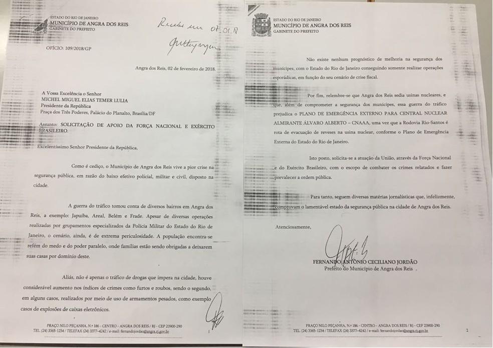 Documento  foi enviado ao Governo Federal solicitando o reforço na segurança pública de Angra (Foto: Divulgação/Prefeitura de Angra dos Reis)