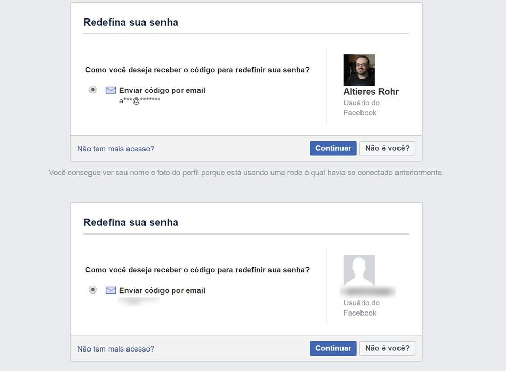 Facebook só identifica o perfil na recuperação de senha por telefone quando reconhece a rede de acesso do usuário. — Foto: Reprodução