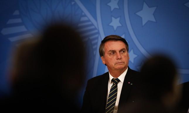 O presidente Jair Bolsonaro em cerimônia no Palácio do Planalto, na semana passada