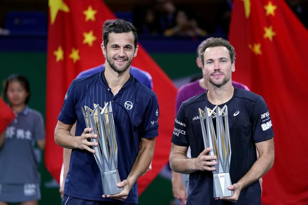 Mate Pavic e Bruno Soares, campeões de duplas em Xangai  — Foto: Aly Song/Reuters
