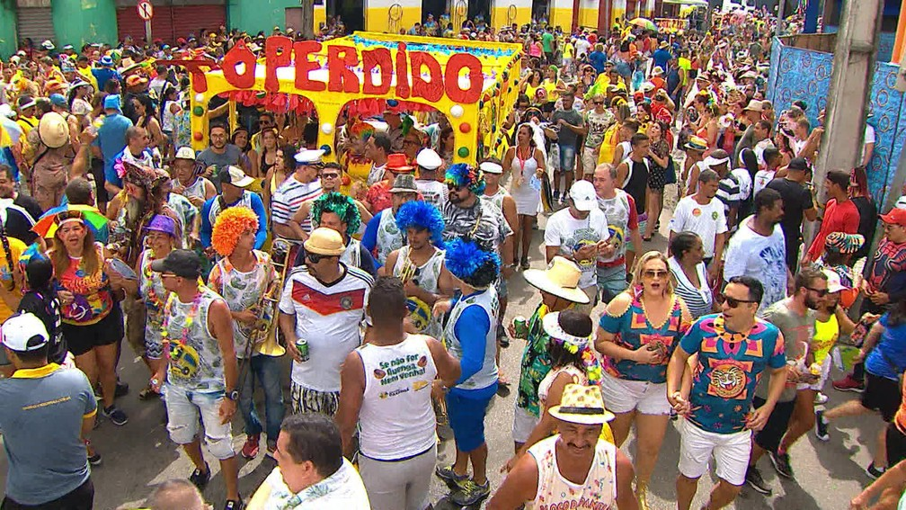 Foliões usam a criatividade para fantasias no Galo da Madrugada — Foto: Reprodução/TV Globo
