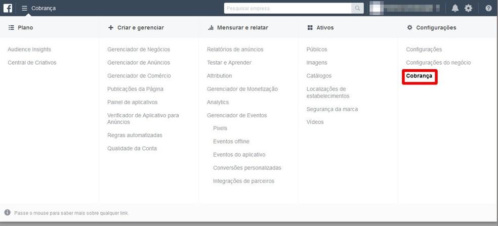 Selecione a opção cobrança para ver seus registros — Foto: Reprodução/Thiago Siqueira