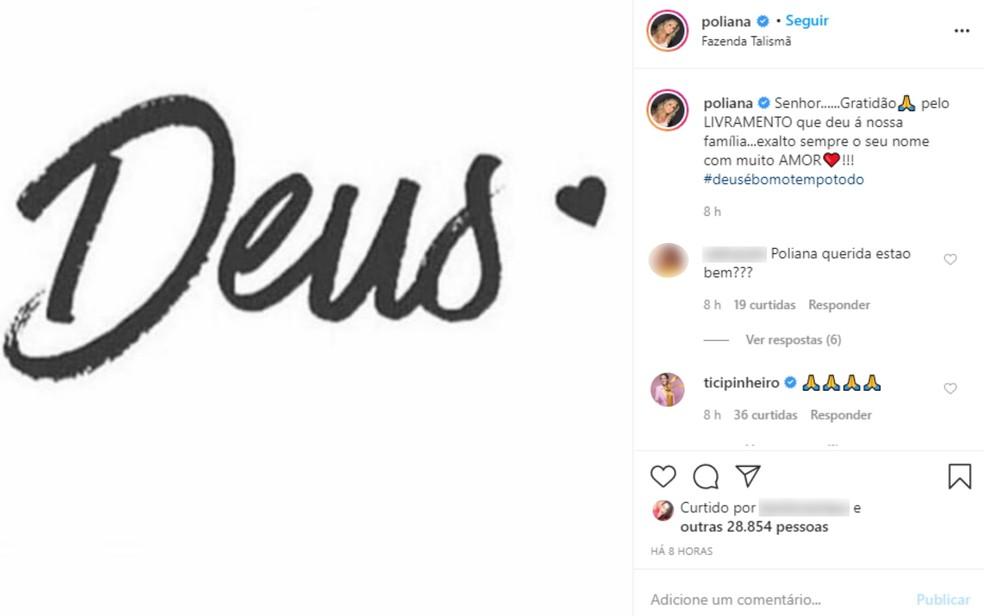 Esposa de Leonardo, Poliana posta nas redes sociais uma mensagem de agradecimento — Foto: Reprodução/Instagram