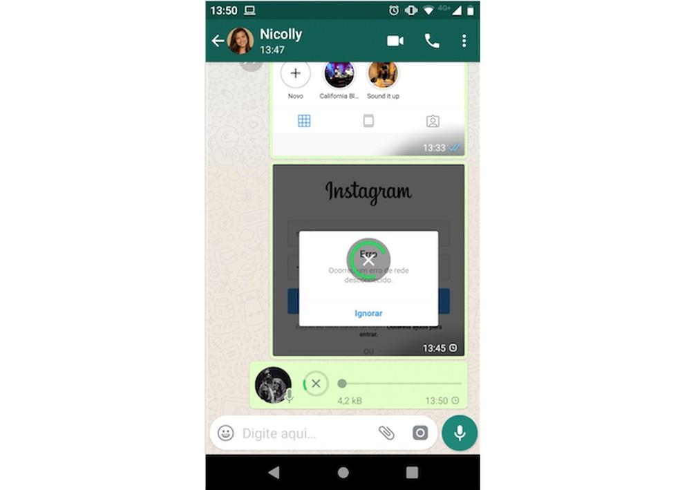 WhatsApp não consegue enviar mídias — Foto: Reprodução/Marlon Camara