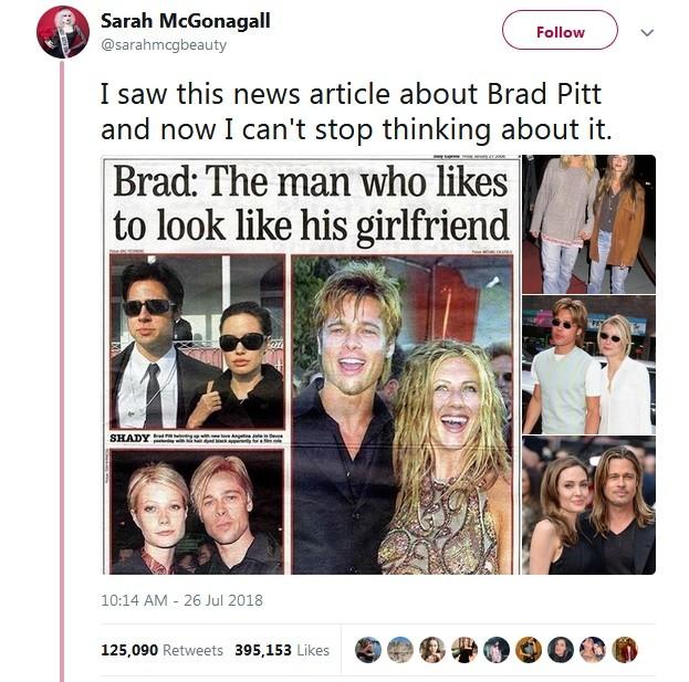 VSemelhança de Brad Pitt com namoradas se torna viral no Twitter (Foto: Reprodução / Twitter)