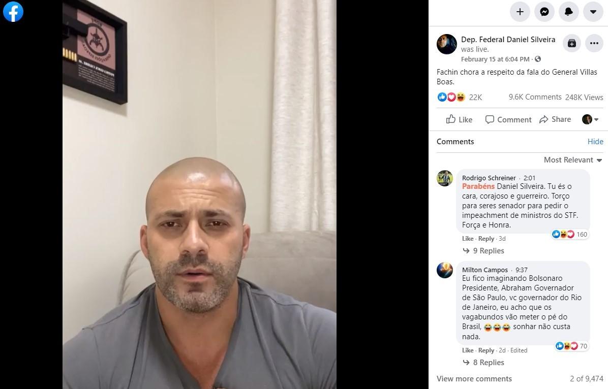 Publicação original de Daniel Silveira permanece ativa no Facebook